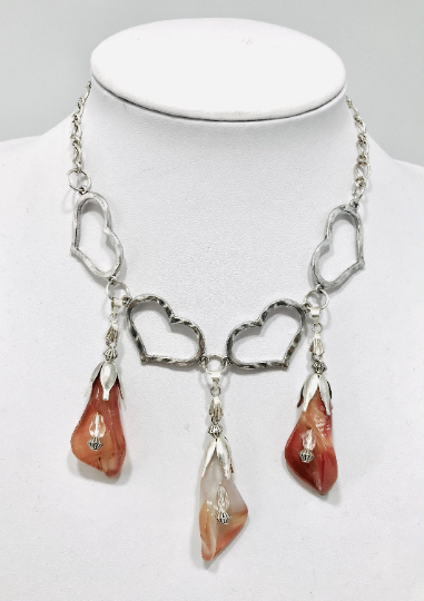 Silver Plated Heart Necklace With Red Agate Tulips