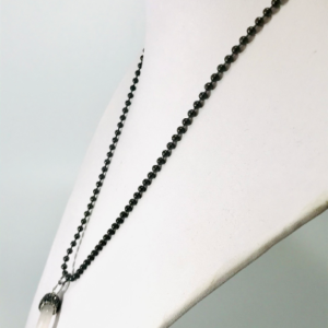 Opal Horn Necklace With Gunmetal Chain