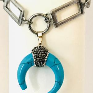Art Deco Bracelet With Crescent Moon Pendant