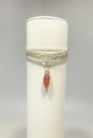 Multi-strand Bracelet With Pink Bead Pendant