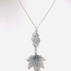Pewter And Silver Plated Leaf Necklace