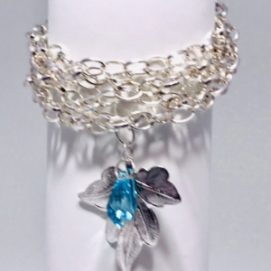 Silver Plated Cuff Bracelet With Swarovski Crystal And Leaf Pendant
