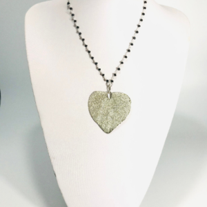 Rosary Chain Necklace with Silver Plated Leaf