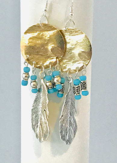 Gold Plated Dream Catcher Earings With Feather