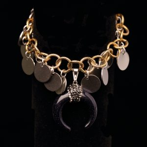 Antique Gold Gypsy Bracelet with Horn
