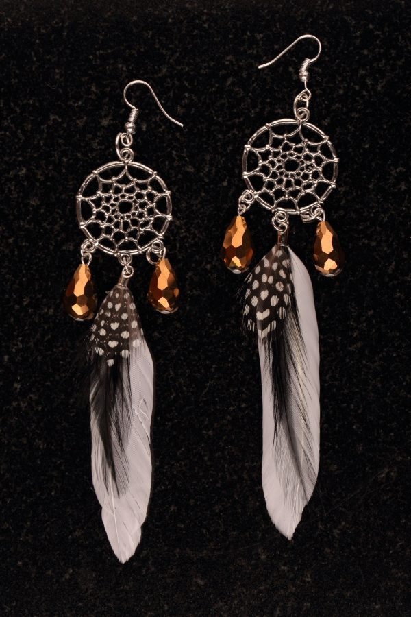 #190 Dream Catcher Earrings With Large Feather