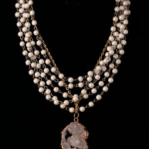 #186 Multi-Strand Beaded Chain With Druzy Crystal Pendant