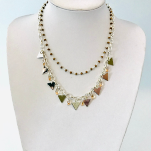 Silver Plated Double Stranded Necklace