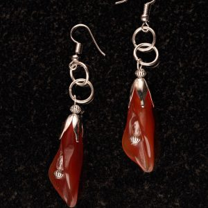 #214 Red Agate Tulip Drop Earrings