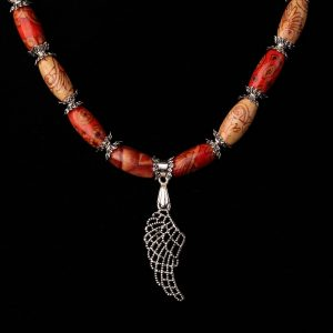 #232 Wood Bead and Angel Wing Necklace