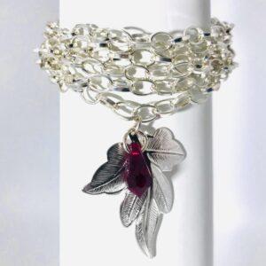 Silver Plated Cuff Bracelet With Swarovski Crystal