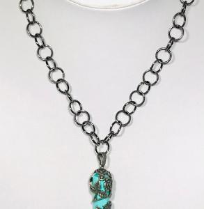 Gunmetal Necklace With Turquoise Tone Pendant