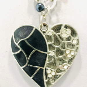 Asymmetrical Heart Necklace With Red And Black Agate