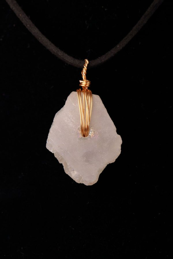 #265 Shabby Chic Quartz And Wire Work Necklace