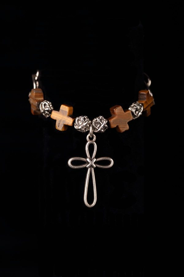 #241 The Silvertone And Wooden Cross Bracelet