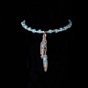 #256 Ethnic Blue Seed Bead Bracelet And Feather Pendants