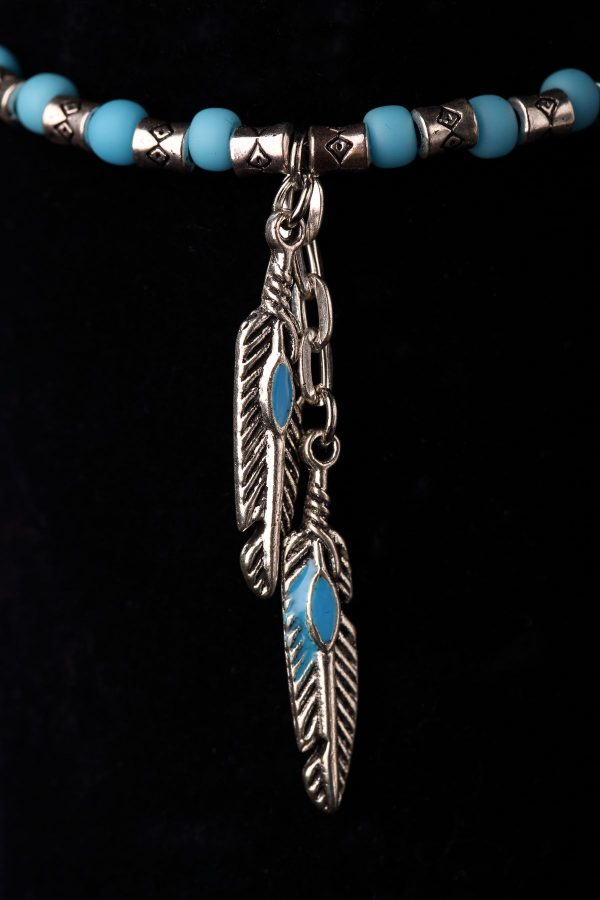 #256 Ethnic Blue Seed Bead Bracelet And Feather Pendants