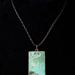 #245 Braided Faux Leather Necklace With Ocean Jasper