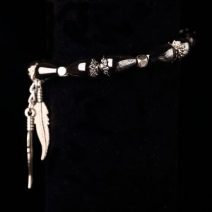 #243 The Haematite Teardrop and Feather Bracelet