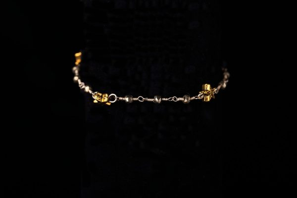 #249 Gold Star And Grey Rosary Chain Bracelet