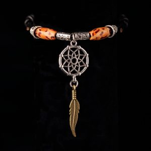 #252 Wood Bead Dream Catcher Slide Knot Bracelet