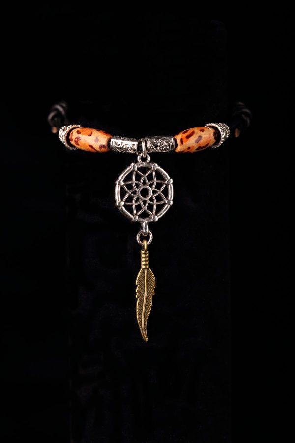 #252 Wood Bead Dream Catcher Slide Knot Bracelet
