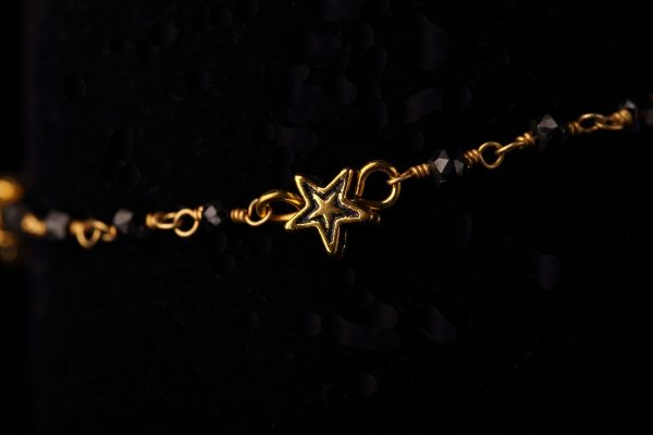 #248 Gold Star And Rosary Chain Bracelet.