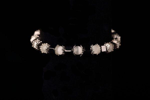 #262 White Cat's Eye and Haematite Bracelet