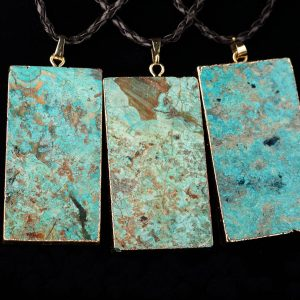 Braided Faux Leather Necklace With Ocean Jasper