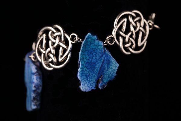 #264 Celtic Knot Bracelet With Lapis Lazuli Pendants