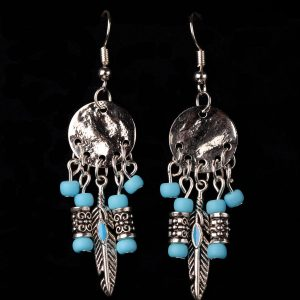 #260 Blue Dream Catcher Earrings With Feather