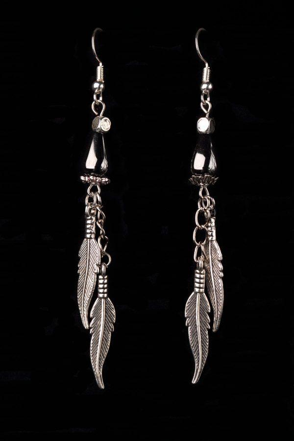 #242 Haematite Teardrop Earrings With Feather Pendants