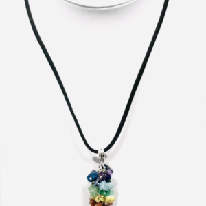 Chakra Crystal Necklace on Faux Suede