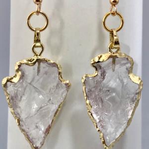 Clear Quartz Crystal Arrowhead Earrings