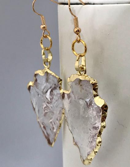 Clear Quartz Arrowhead Earrings