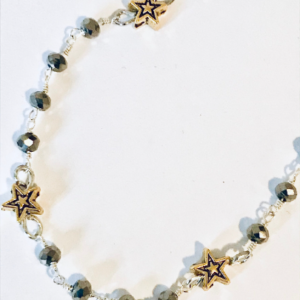 Gold Star And Grey Rosary Chain Bracelet