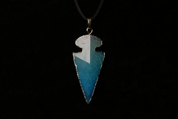 #319 Blue Agate Arrowhead Necklace On Faux Suede