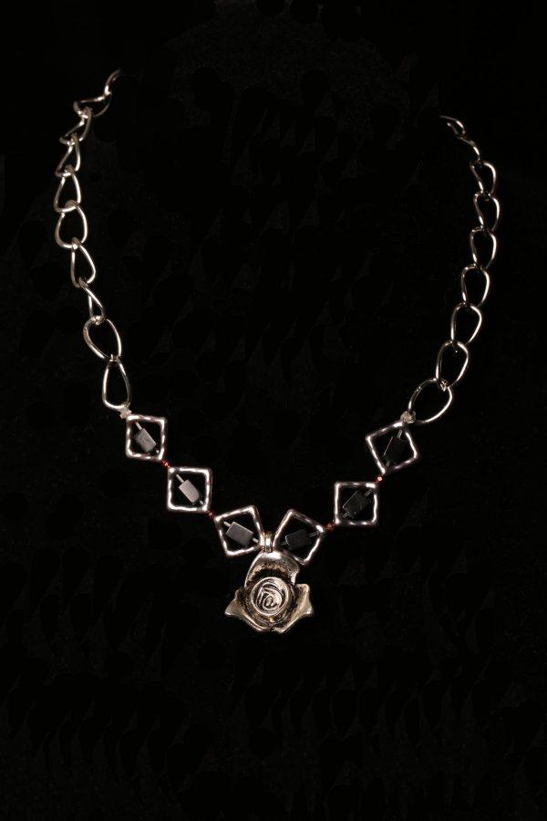 #319 Blue Agate Arrowhead Necklace On Faux Suede