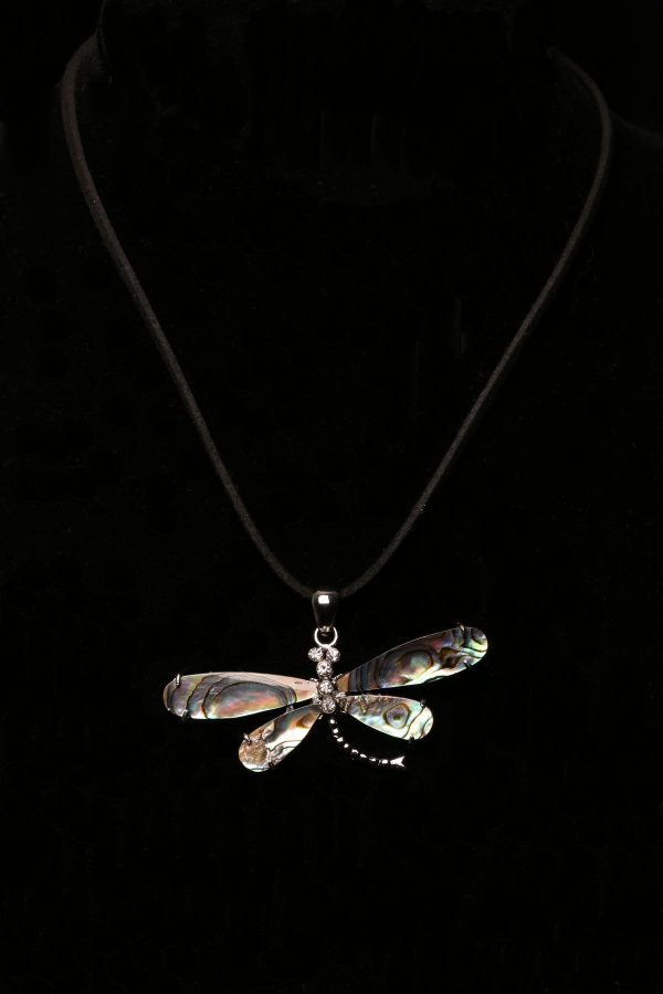 #308 Abalone Shell Dragonfly Necklace On Faux Suede Cord