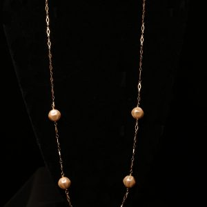 #234 Goldtone And Large Pearl Sweater Chain
