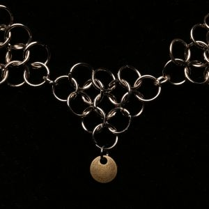 #369 Silver Alloy Chain Maille Necklace With Brass Disks