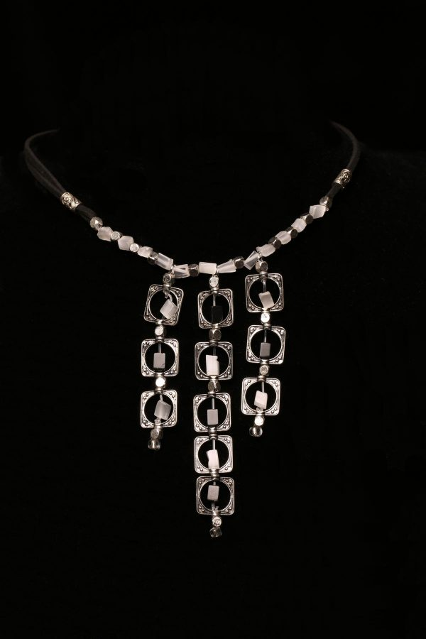 #293 The Black And White Agate Art Deco Necklace