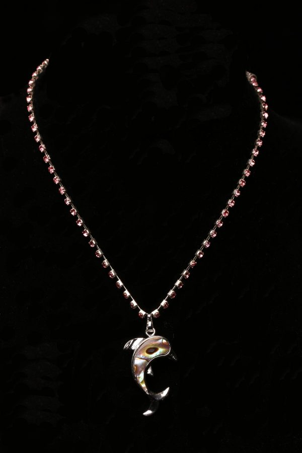 #310 Pink Rhinestone Necklace With Dolphin Pendant