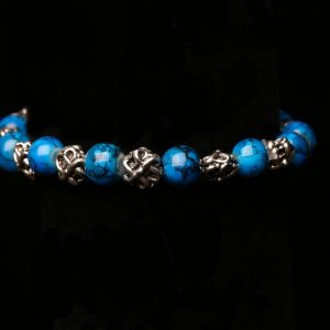 #379 The Blue Glass Bead And Antique Silvertone Bracelet