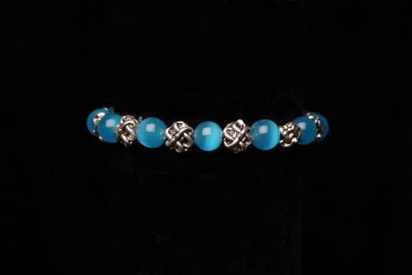 #377 Elasticated Light Blue Cat's Eye Bracelet