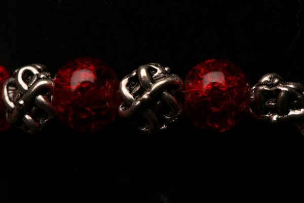 #378 The Red Glass Bead And Antique Silvertone Bracelet