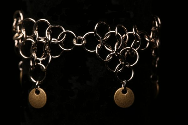 #345 Silver Alloy Chain Maille Bracelet With Toggle Clasp