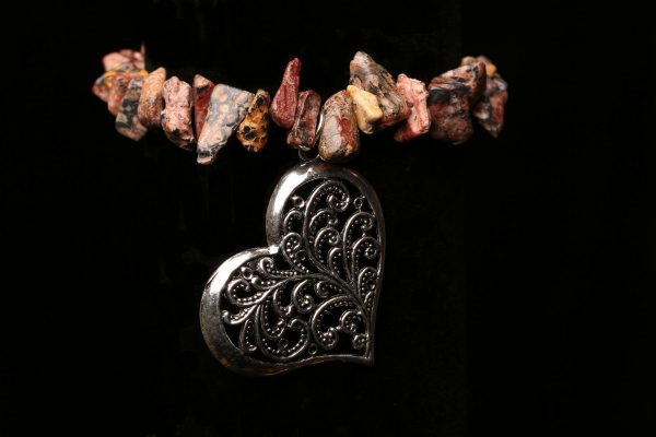 #321 Picture Jasper Bracelet With Large Heart Pendant