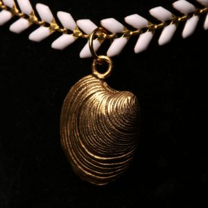 #301 White Chevron Chain Bracelet With Antique Gold Shell