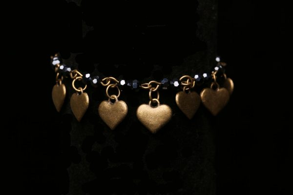 #280 Black Glass Bead Chain and Brass Hearts Bracelet